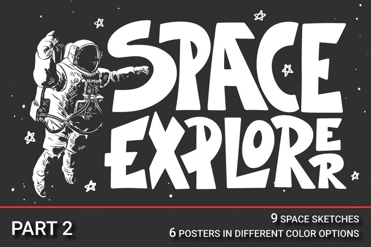 Space sketches and posters set example image 1