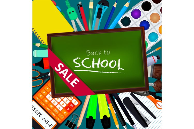 Back to school. Background illustrations with different offi example image 1
