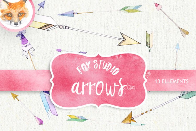 Arrow Clipart. Painted Watercolor Clipart. Hearts and Arrows example image 1