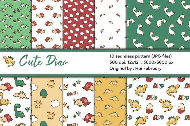 Cute Dino Digital Paper Seamless Pattern Set