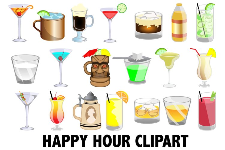 Happy Hour Clipart example image 1