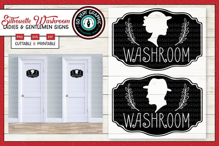 Silhouette Cameo Washroom Signs | Ladies & Mens Room | SVG example image 1