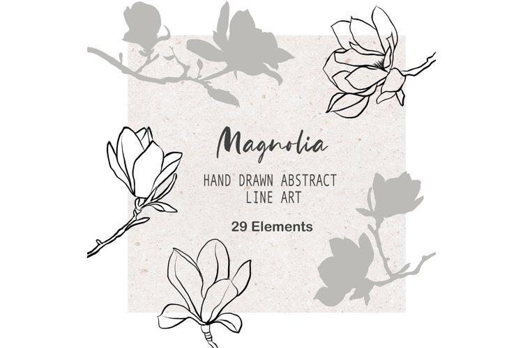 Magnolia Art Floral illustration Botanical Ink Line Art