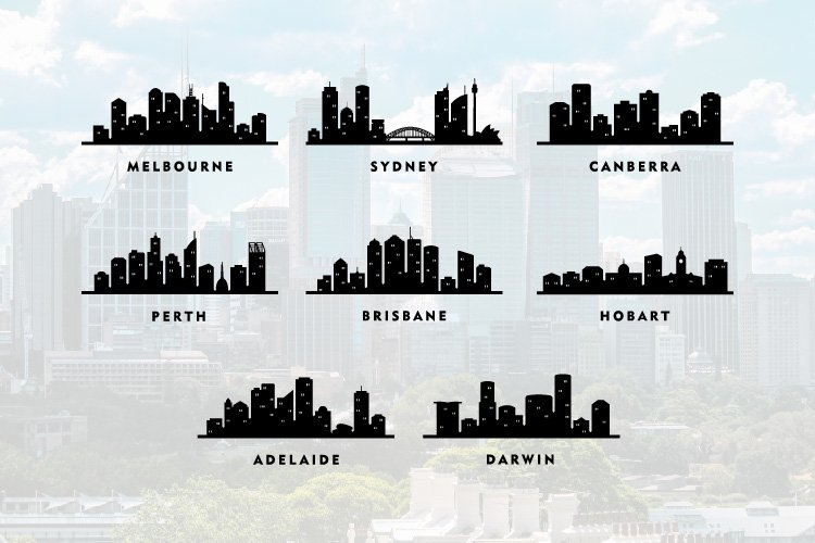 8 Australia Cities City Tour Skyline Illustration Silhouette example image 1