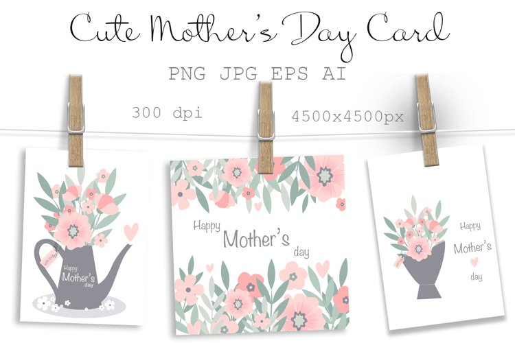 Mothers Day Card Cute Flowers in Pot Sublimation Design