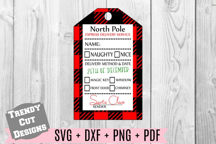 Christmas Gift Tag Buffalo Plaid SVG Print and Cut