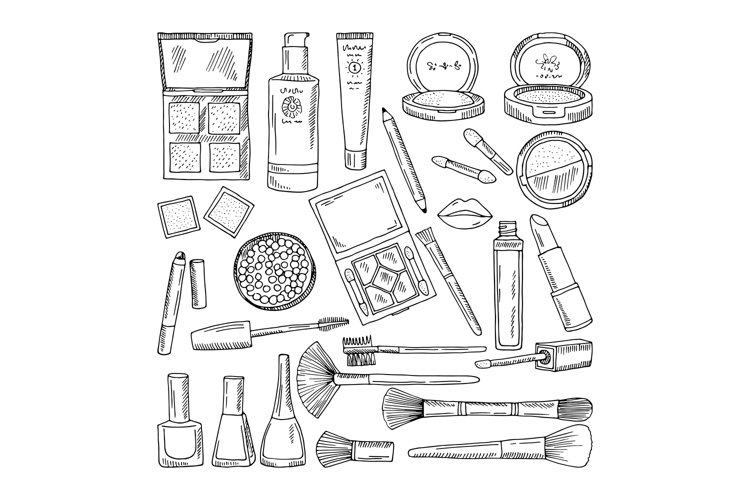 Doodle illustrations of woman cosmetics. Makeup tools for be example image 1