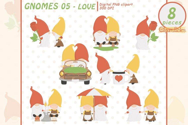 Cute GNOMES in LOVE clipart, Fairy tale, Romantic clip art example image 1