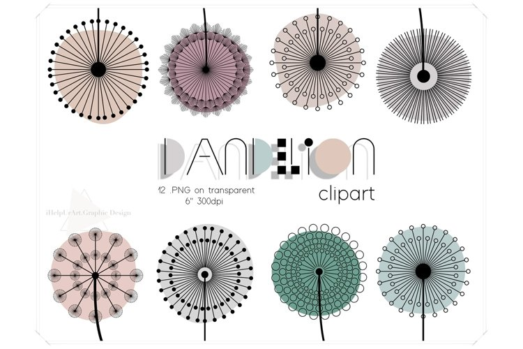 Dandelion Clipart - Floral Design - Modern Abstract Flowers