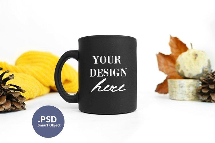 Autumn Black mug mockup full wrap PSD, Minimalist mug mockup example image 1