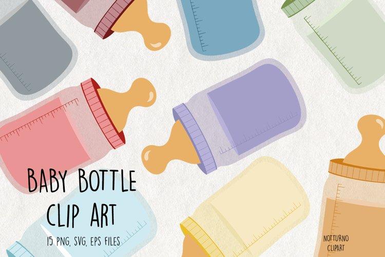 Baby Bottle Clipart SVG. Bottle graphics. Set of 15 svg