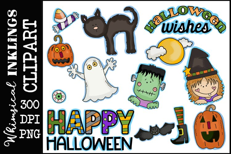 Spooky Wishes-Halloween Clipart-Sublimation Set example image 1
