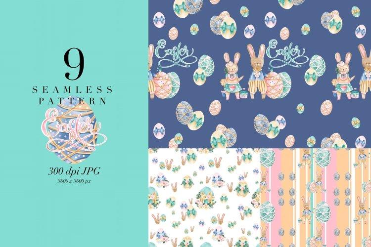 9 seamless pattern Easter, watercolor pattern, JPG, bunny