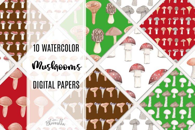 Mushrooms Seamless Patterns Digital Paper Watercolor Fungi example image 1