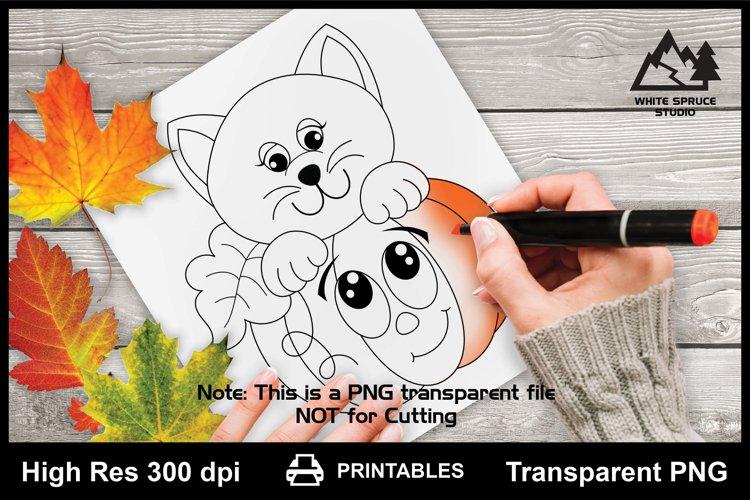 Cartoon Pumpkin & Kitty, Pumpkin, Cat, Halloween, Autumn Cat