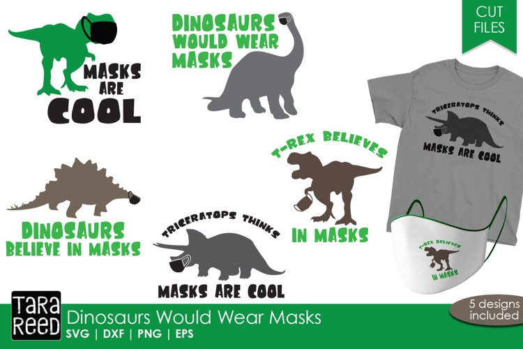 Dinosaur Face Mask Sayings - SVG and Cut Files for Crafters