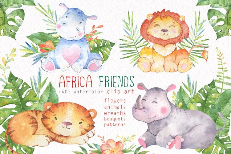 Watercolor Safari Animals. Baby Animals clipart