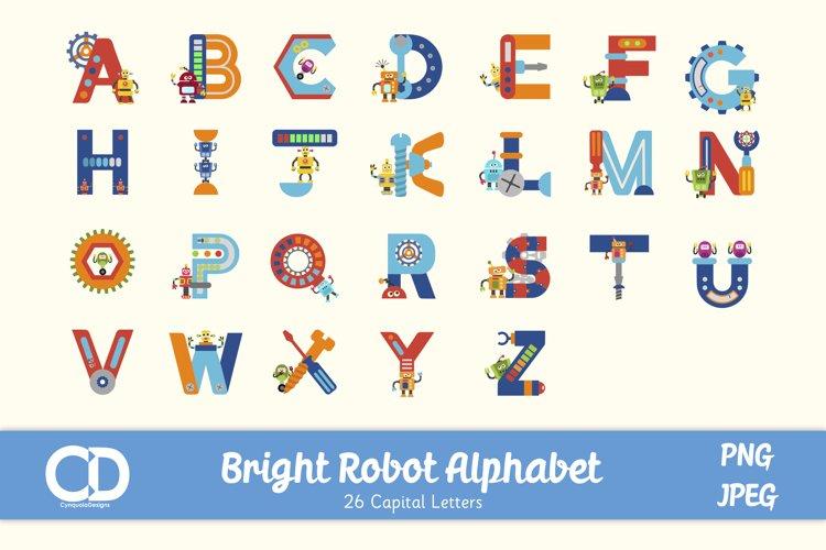 Bright Coloured Robot Themed Alphabet - Capitals