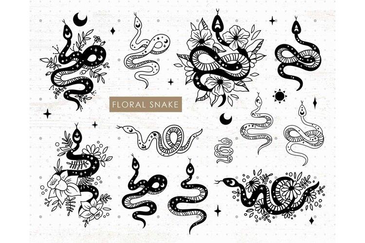 Floral & celestial snake SVG PNG bundle
