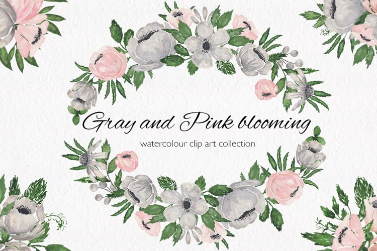 Gray and Pink Blooming. Watercolour clipart collection. example image 1