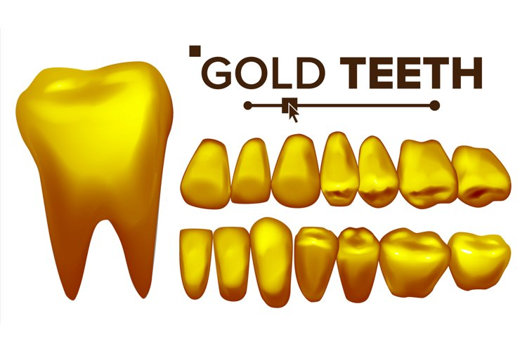 Golden Tooth Vector. Metal Gold Human Teeth. Isolated example image 1