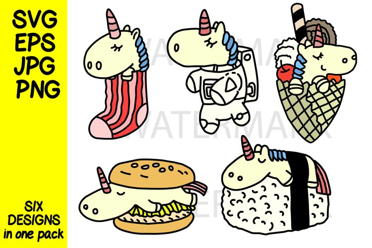 Unicorn in various design-color and outline- SVG-EPS-JPG-PNG example image 1