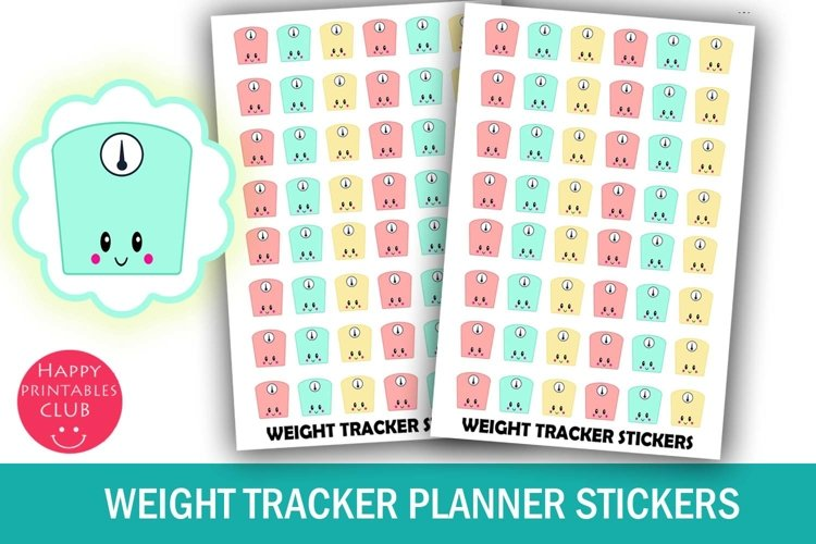 Weight Tracker Planner Stickers- Workout Stickers- Kawaii example image 1