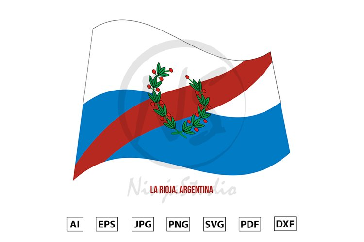 La Rioja Flag Waving Vector. Flag of Argentina Provinces example image 1