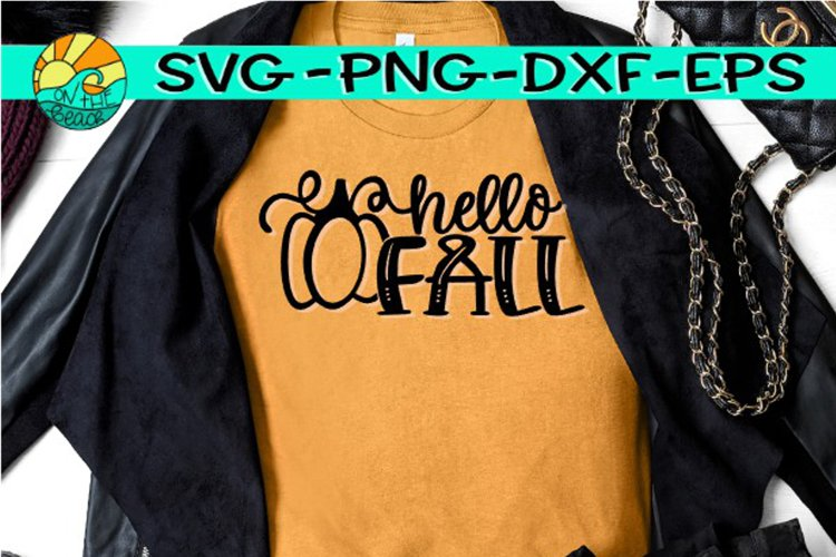 Hello Fall -Pumpkin - SVG PNG EPS DXF example image 1