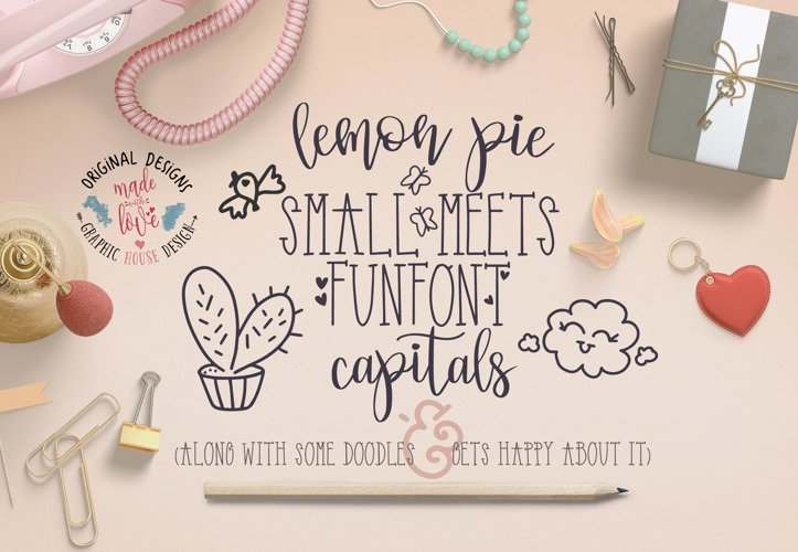 Lemon Pie Small and Funfont Capitals Font Duo Extra doodles example image 1