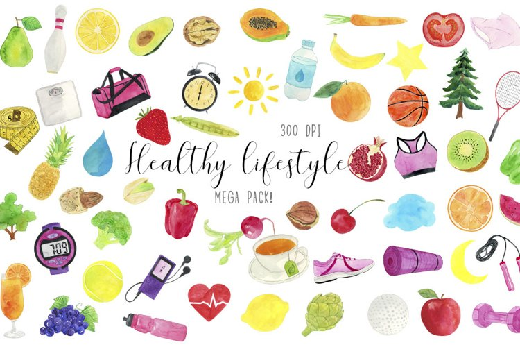 Watercolor Heathy Lifestyle Clipart, Healthy Life Clipart example image 1