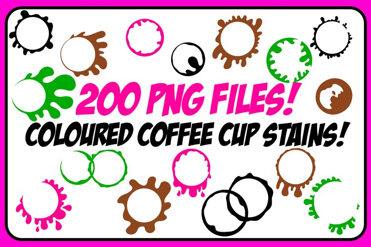 200 PNG BUNDLE! Coloured Coffee Tea Cup Mug Stain Drips example image 1
