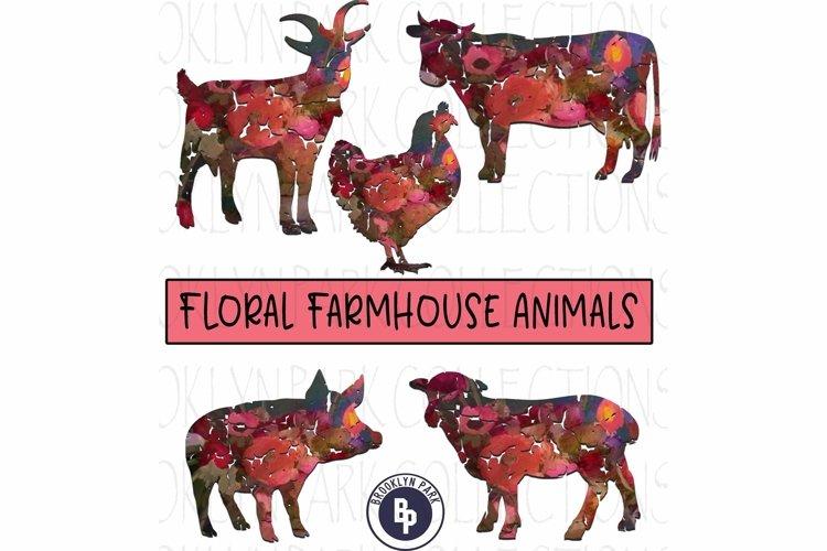 Farm Animals, Floral Pattern, Bundle, Clip Art, Print, example image 1