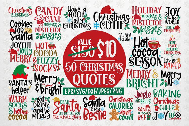 Big Merry Christmas Bundles - 50 SVG PNG EPS DXF JPG example image 1