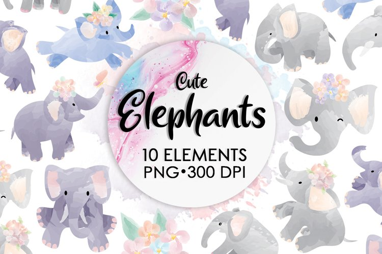 Watercolor Animals, Elephant Clipart, Sublimation Watercolor example image 1