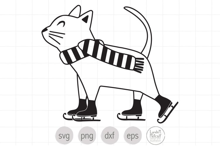 Line Art Ice Skating Cat SVG Cut File for Christmas example image 1