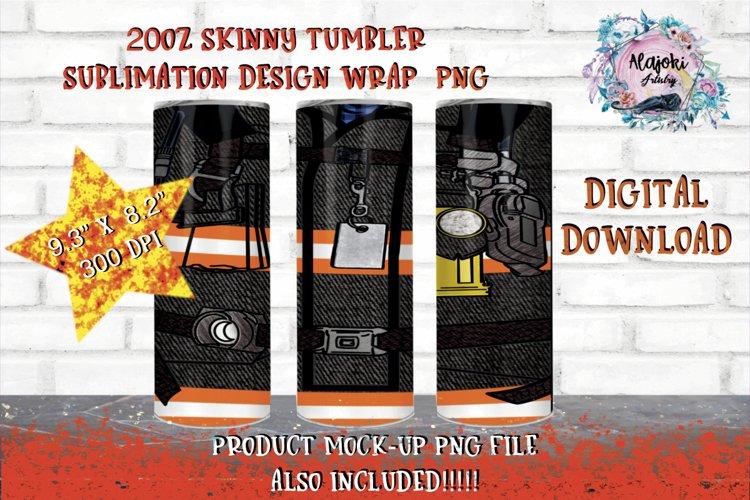 20oz  Black Fireman  Sublimation Tumbler Wrap  Seamless example image 1