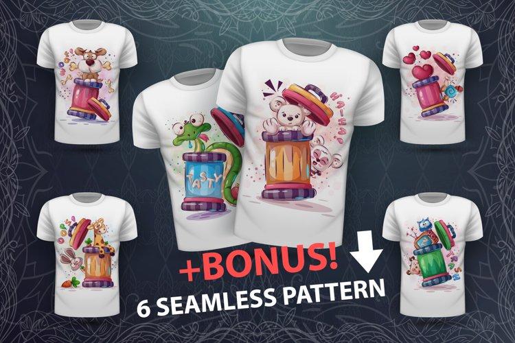 Set cute animals and seamless pattern