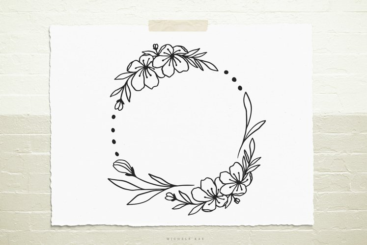 Wild flower wreath svg cut file example image 1