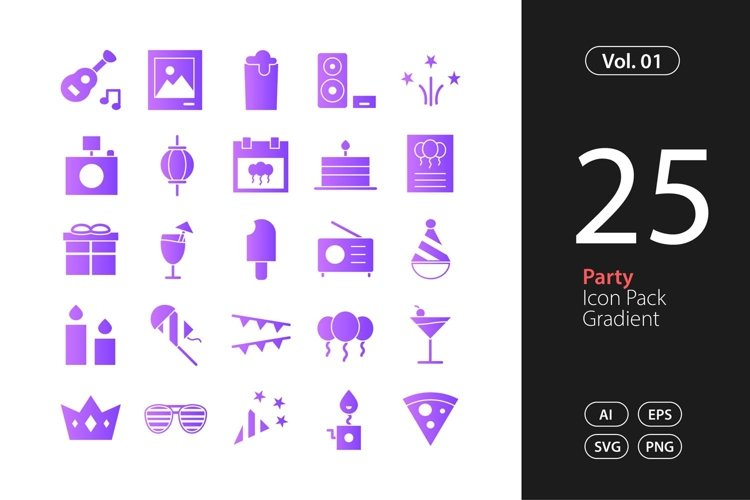 Party Icon Gradient SVG, EPS, PNG