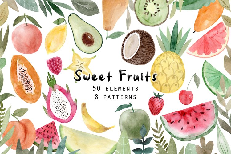 Watercolor Fruits. Patterns, Clipart