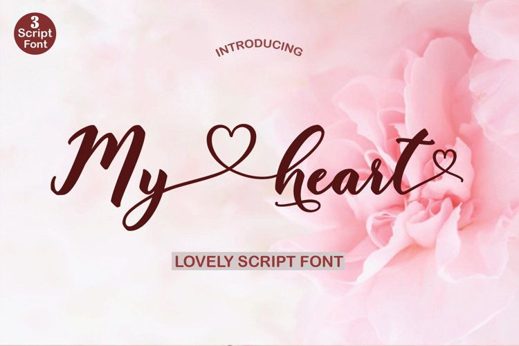 My heart script font