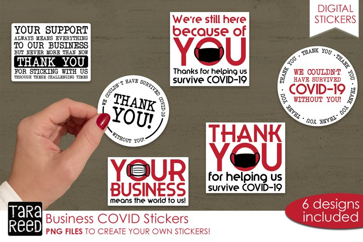 Sticker Bundle PNG - Business COVID Support - Thank You