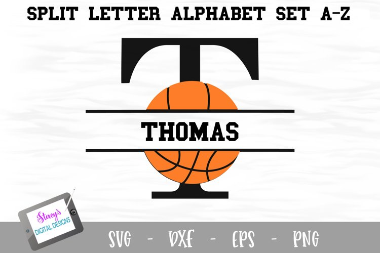 Split Letters A-Z - 26 Split Monogram basketball SVG files example image 1