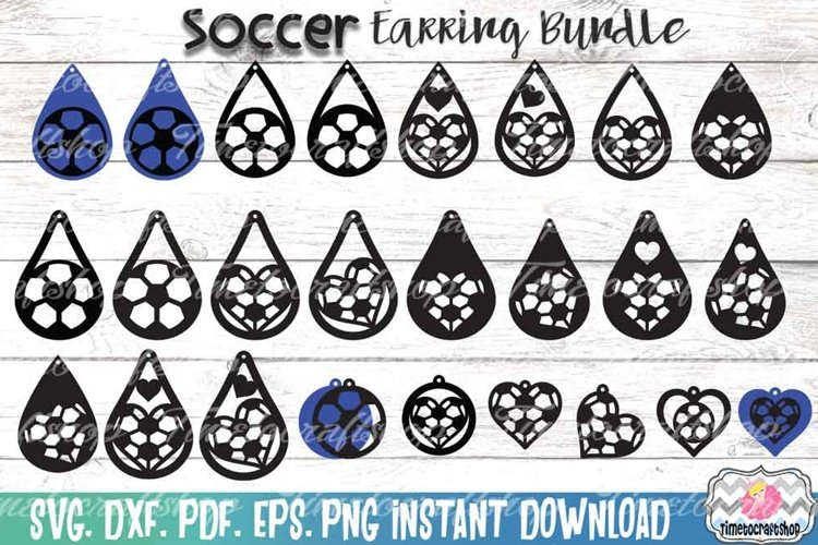 Sport Soccer Earring Template Bundle example image 1