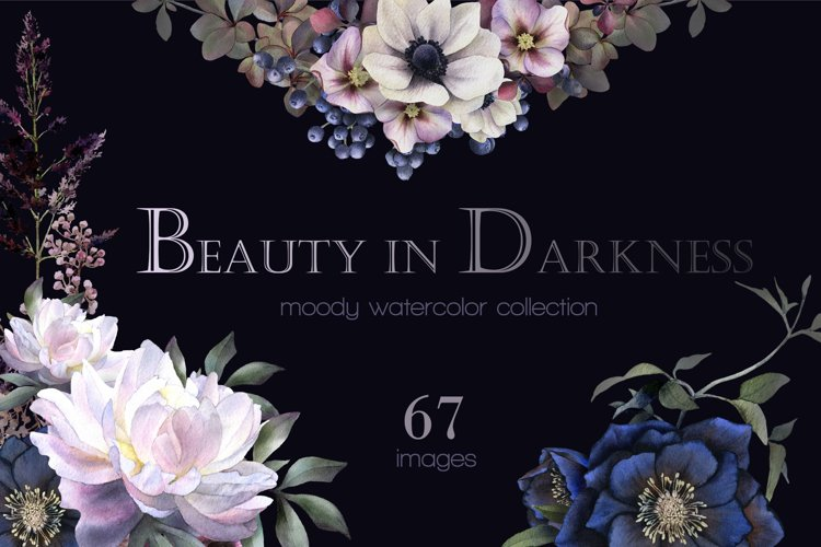 Beauty in Darkness moody floral Watercolor collection
