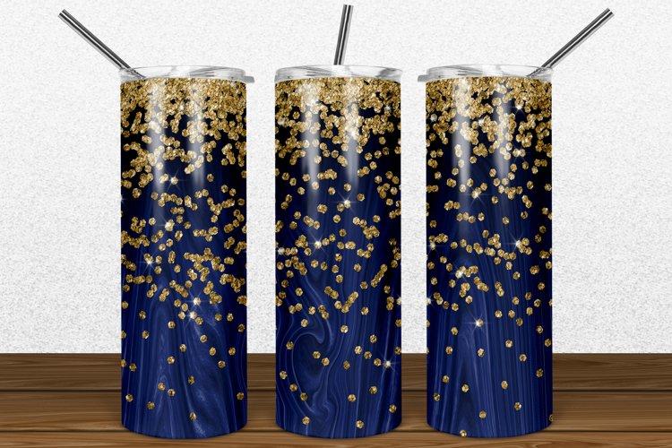 Navy Wood Gold Glitter 2oz Skinny Tumbler Sublimation example image 1