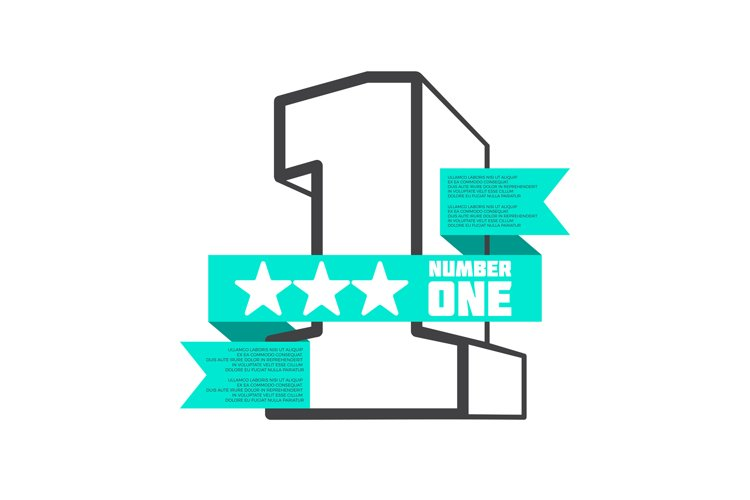 3D number one with ribbon banner vector design