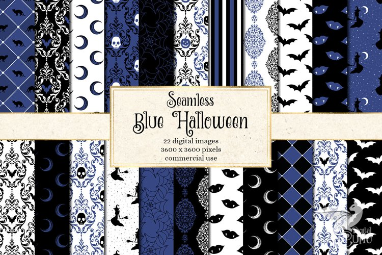 Blue Halloween Digital Paper example image 1