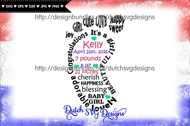 Baby girl cut file in foot shape, baby girl svg, new born example image 1